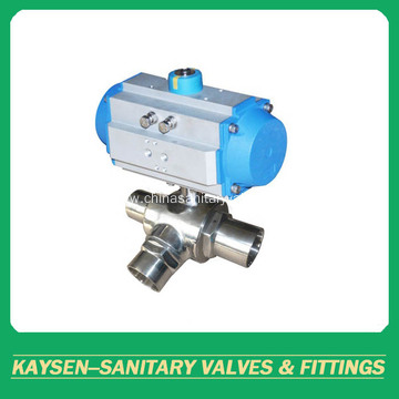 3A Hygienic 3-way ball valves welded pneumatic